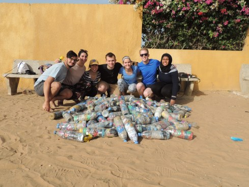 Natangué-Sénégal USA launched the EcoBricks program in collaboration with the Georgetown Renewable Energy and Environmental Network. Left to Right: Perrin Jones, NSUSA Project Manager, Lauren Gros (GREEN Team Leader), Jaclyn Lee (NSUSA VP), Larson Holt (NSUSA President), Zoe Nelson, Ryan O'Sullivan and Mayesha Awal (GREEN).